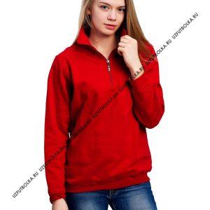 Толстовка женская на замке стойка воротник красная