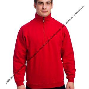 Толстовка мужская на замке стойка воротник красная