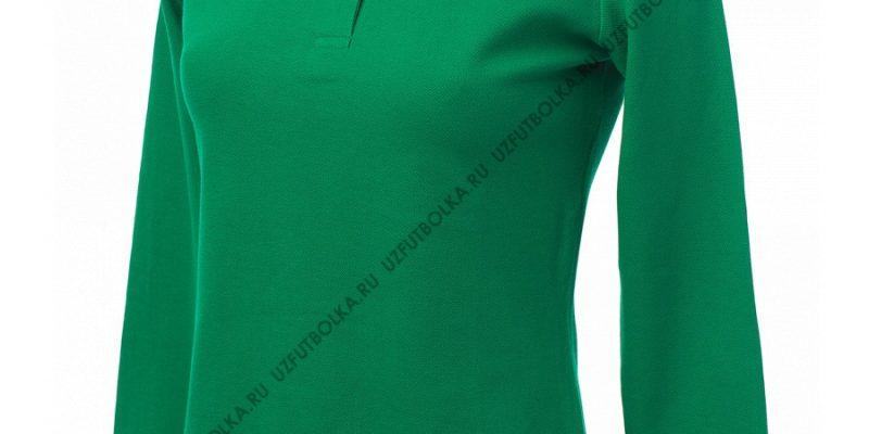 Промо поло лонгслив женское зеленое