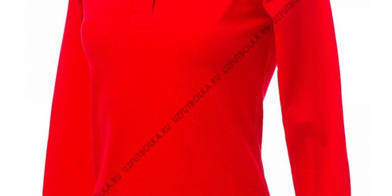 Промо поло лонгслив женское красное