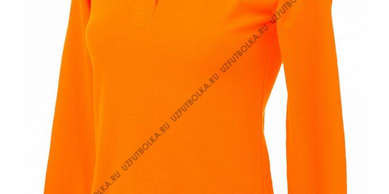 Промо поло лонгслив женское оранжевое