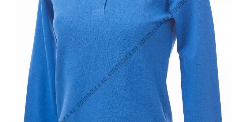 Промо поло лонгслив женское темно-голубое