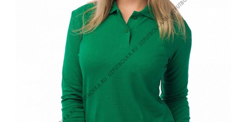 Женское поло длинный рукав зеленое
