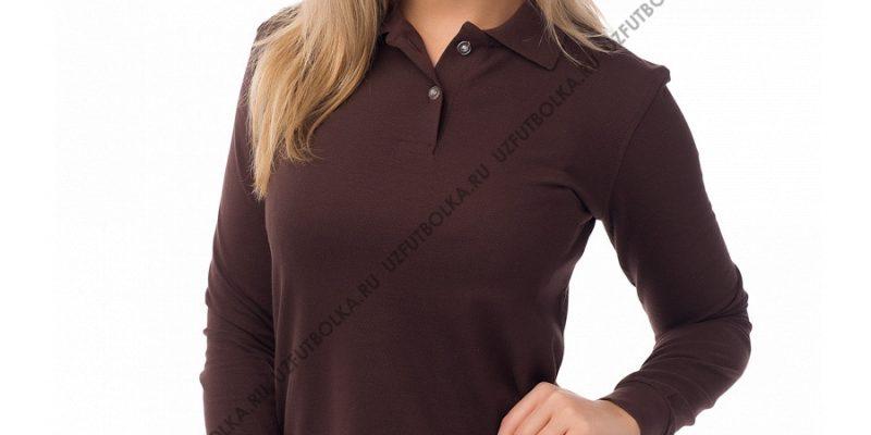 Женское поло длинный рукав коричневое