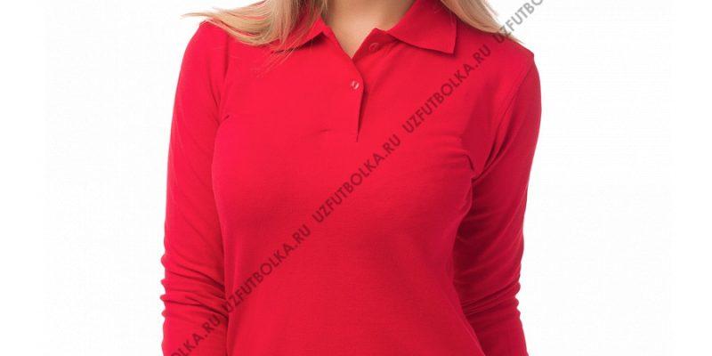 Женское поло длинный рукав красное