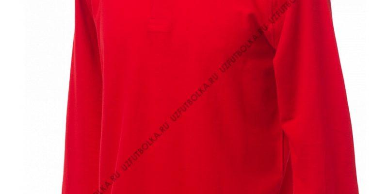 Промо поло лонгслив мужское красное