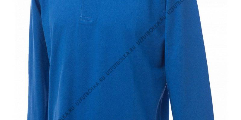 Промо поло лонгслив мужское синее