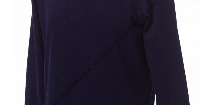 Промо поло лонгслив мужское темно-синее
