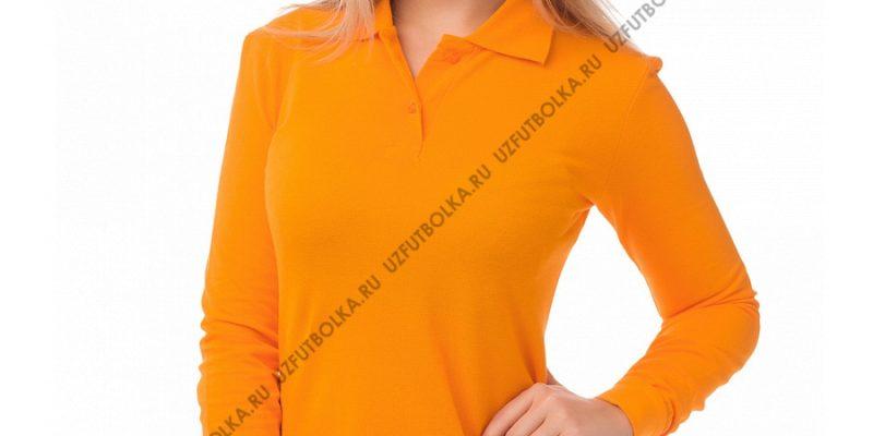 Женское поло длинный рукав оранжевое