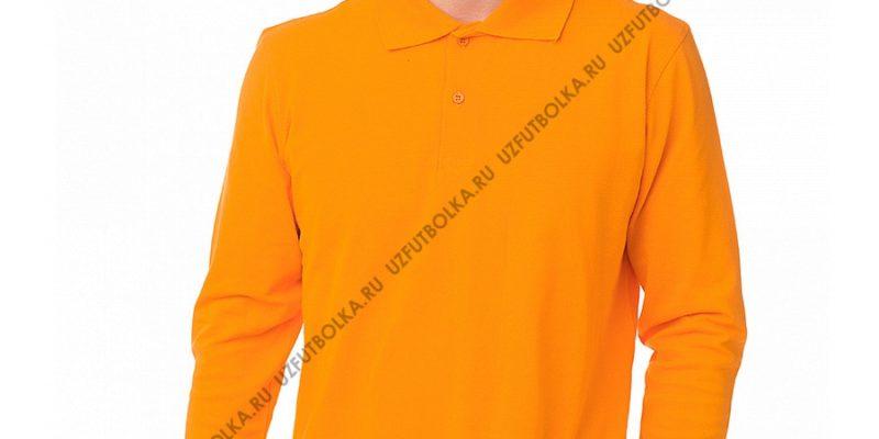 Мужское поло лонгслив оранжевое