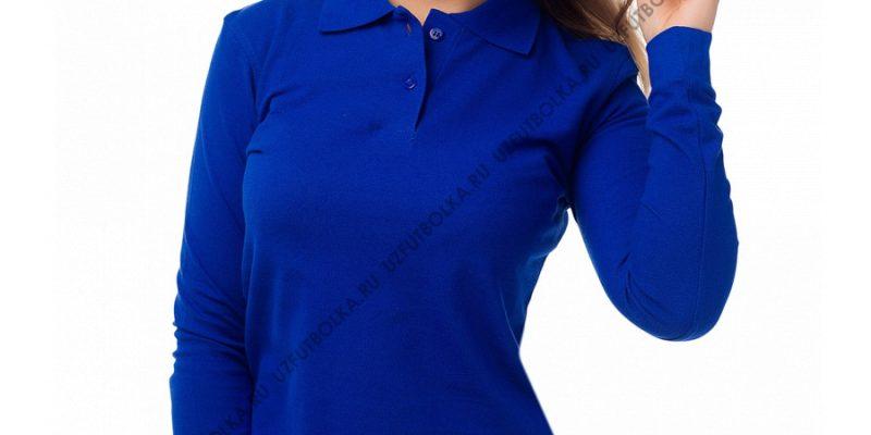 Женское поло длинный рукав синее