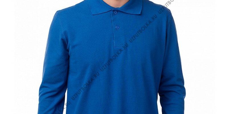 Мужское поло лонгслив синее