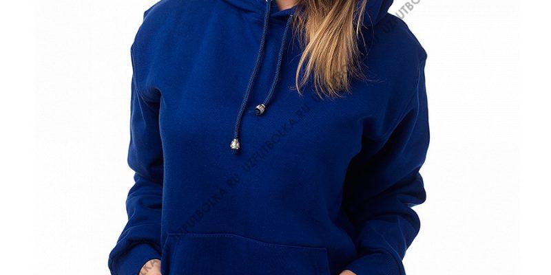Женская толстовка кенгуру синяя 3-х нитка