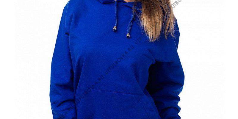 Женская толстовка кенгуру ярко-синяя 2-х нитка