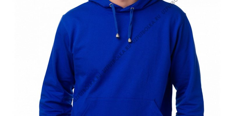 Мужская толстовка кенгуру ярко-синяя 2-х нитка