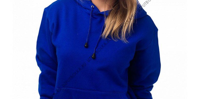 Женская толстовка кенгуру ярко-синяя 3-х нитка