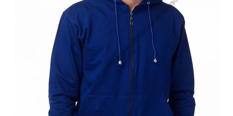 Мужская толстовка на молнии синяя 2-х нитка