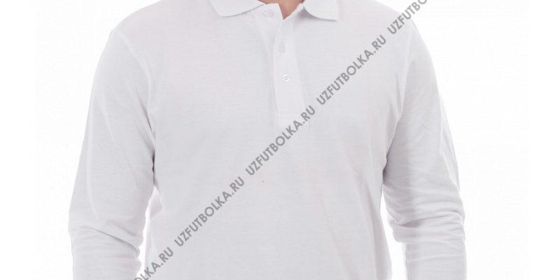 Поло мужская длинный рукав белая